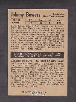 1954-55 Parkhurst Johnny Bower Rookie Card #65 Vintage Hockey Card