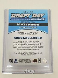 2016-17 Auston Matthews SP Game Used Draft Day Marks Rookie Auto Letter W 08/1