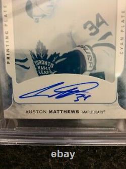 2016-17 Auston Matthews The Cup Rookie Printing Plate Cyan 1/1 Auto Bgs 9.5 Rc