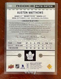 2016-17 UD Premier Auston Matthews Rookie Auto Patch /199 True Rookie Card! RC