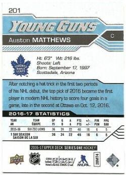 2016-17 Upper Deck Auston Matthews Rc Rookie Yg Young Guns #201 Maple Leafs