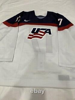 2017 Iihf Game Used Game Worn Team USA Jeremy Bracco World Junior Jersey Meigray