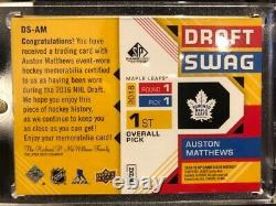 2018-19 Upper Deck SP Game Used Draft Swag 1st overall pick Auston Matthews /16