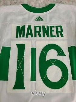 Adidas MIC Game Worn Used Toronto Maple Leafs St Pats Mitch Marner Jersey Gamer