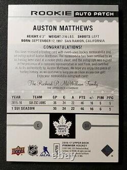 Auston Matthews 2016-17 Ud Premier Rookie Auto Logo Patch /199